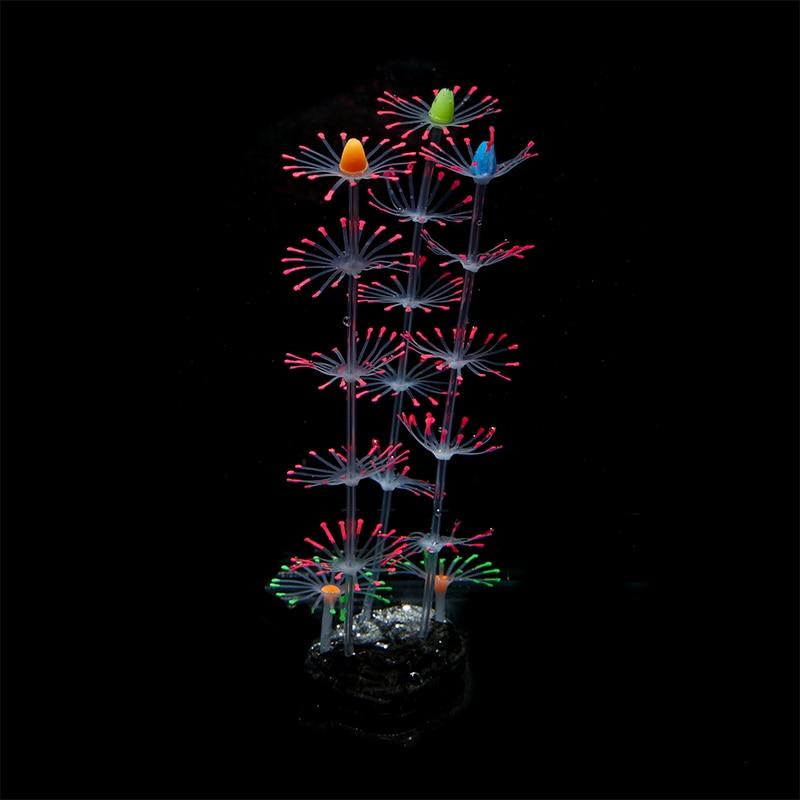 Silicona Simulación artificial de coral Planta Flor ornamentos acuario acuario de peces con efecto fluorescente decoración dinámica