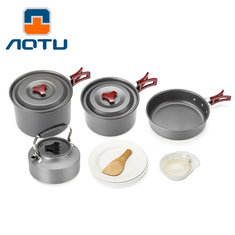 Camping tableware cooking set Camping cookware Outdoor cookware pan pot set travel tableware Cutlery Utensils hiking