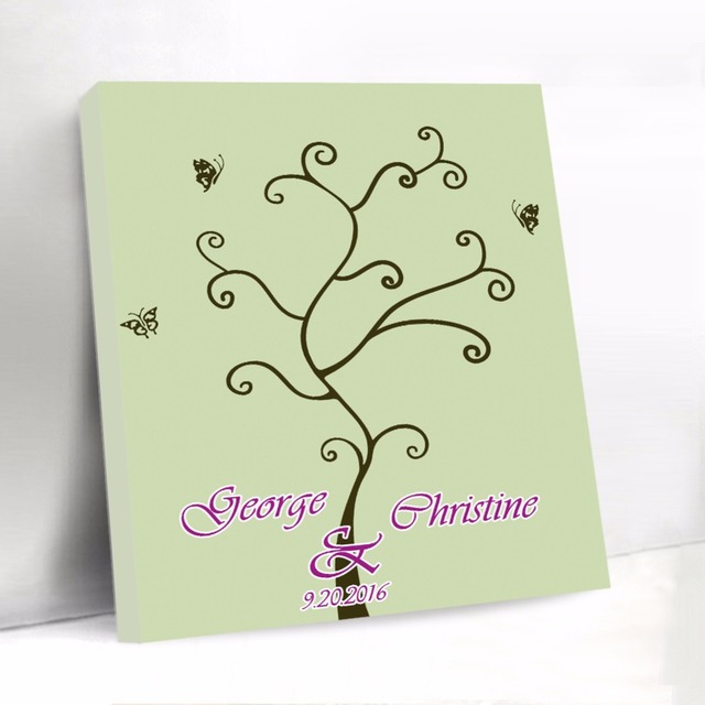 Custom Wedding Guest Book With Butterfly Canvas Fingerprint Tree
