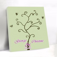 Custom Wedding Guest Book with Butterfly Canvas Fingerprint Tree Guest Book Baby Shower Sign Book Party Decorations Wedding Gift