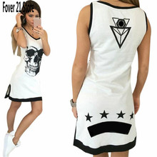 Hot Sell Fashion  Women Casual Fashion Sleeveless Skull Print Vest  Dress Free Shipping Wholesale