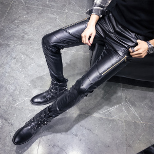 Image 2 - New Arrival Motorcycle Biker Skinny Pant Men Gothic Punk Fashion PU Leather Pants Hip Hop Zippers Black Leather Trousers Male