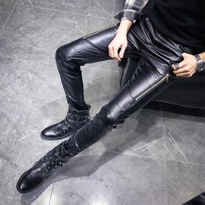 Image 2 - Nieuwe Aankomst Motorfiets Biker Skinny Pant Mannen Gothic Punk Fashion Pu Lederen Broek Hip Hop Ritsen Zwart Lederen Broek Mannelijke