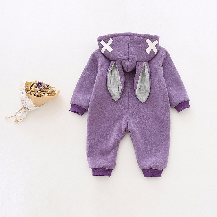 baby girl cross rabbit ear winter rompers (4)