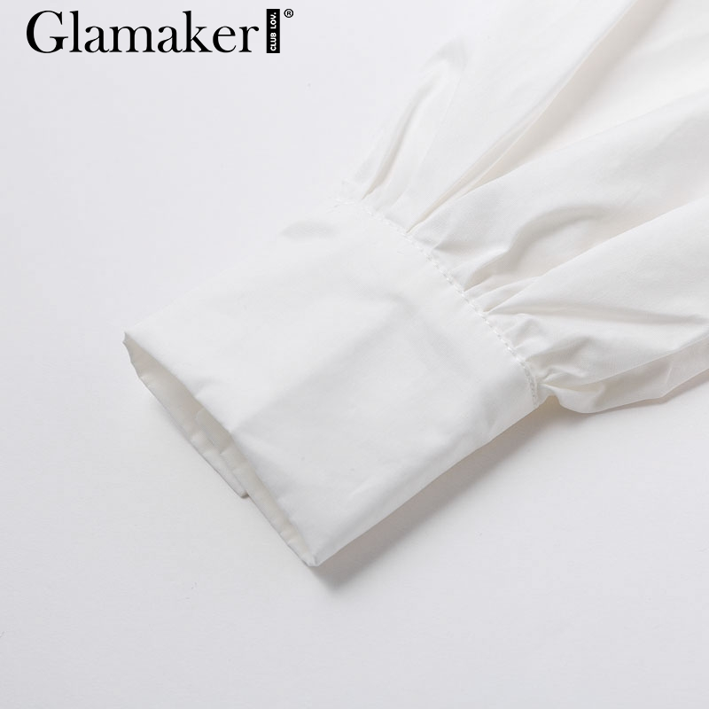Glamaker Batwing sleeve white mini dress Women office lady pleated blouse shirt dress Autumn high waist slim elegant short dress 7