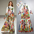 S-XXXXL High Quality Boho Hippie Temperament Retro Holiday Leisure Long Sleeved Beach Women Dress 2016 The New Summer Maxi Dress