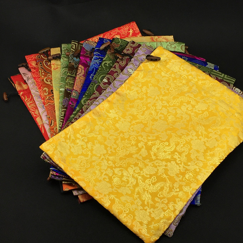 Luxury Floral Bra Underwear Travel Bag Shoes Pouch Bag Drawstring Reusable Silk Brocade Double Layer Storage