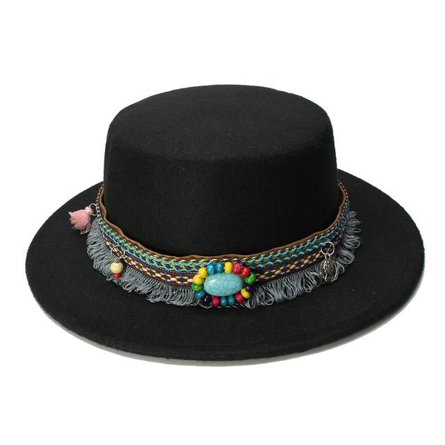 LUCKYLIANJI mujeres hombres Vintage 100% lana ala ancha Pork Pie Porkpie  sombrero borla turquesa banda 9078f92f7fb