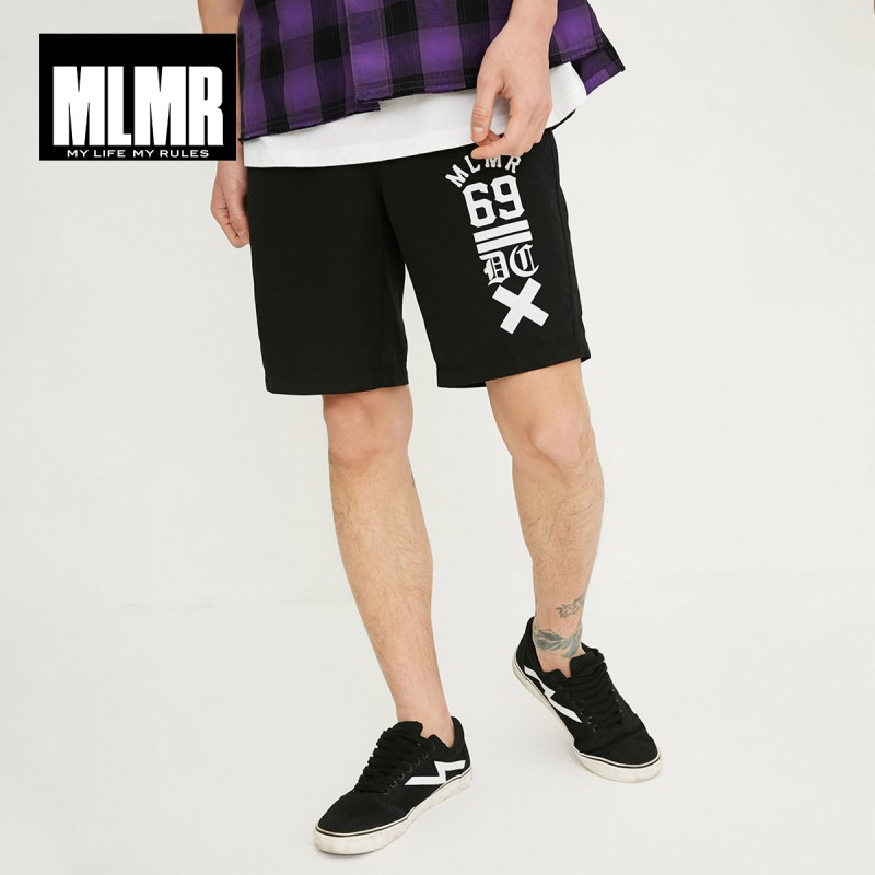 MLMR Men's Straight Fit Letter Print Casual   Shorts   M|218215522