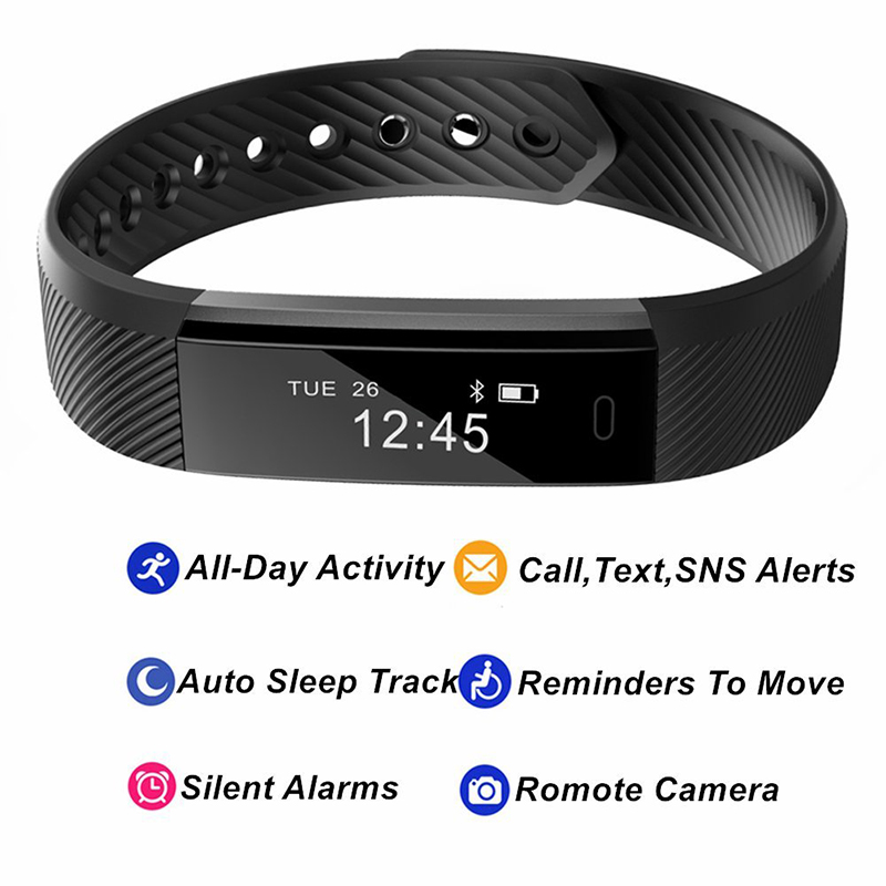 Smart Fitness Watch Women Heart Rate Monitor Smart Band ID115HR Wristband Pink Blue Bracelet Activity Tracker For Xiaomi Iphone