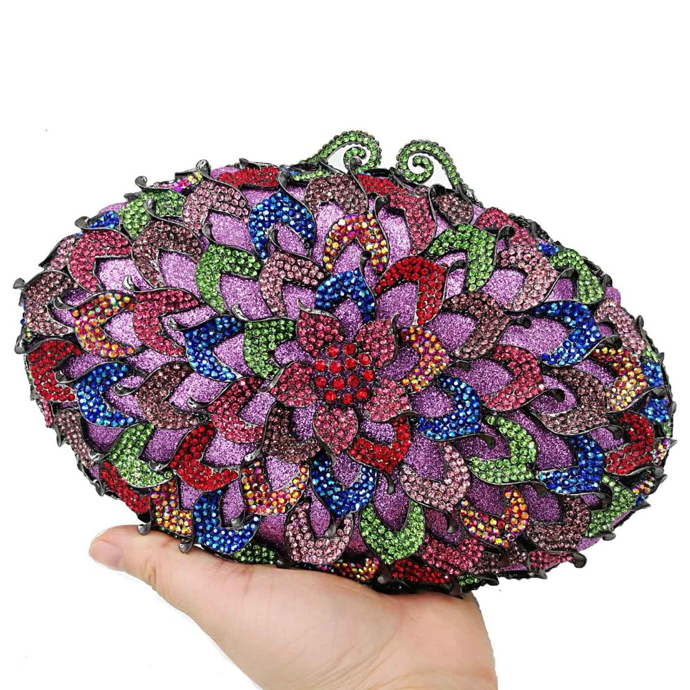 Colorful Luxury Clutch Bags oval Diamond Crystal Evening Bags Party Wedding Purse Prom Wristlets Chain Women