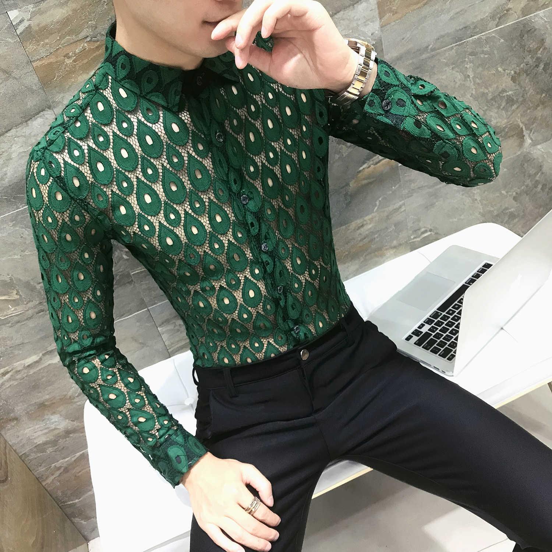 f7264e214d4 Для мужчин рубашка Chemise Homme зеленый кружева рубашки Для мужчин s  Прозрачный барокко рубашка Camisa Masculina