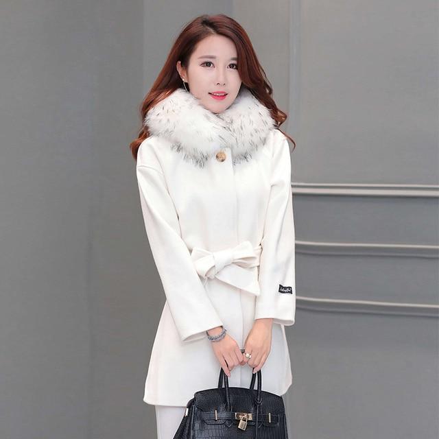 Шерстяные верхняя одежда куртки женщины 2016 опрятный стиль мода одна кнопка средней длины плед с капюшоном шерстяное пальто женщина кашемир