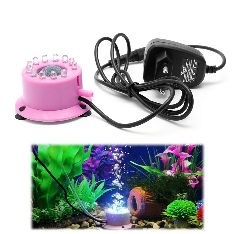 Mini Colorful Submersible 12 LED Light Air Curtain Bubbles Aquarium Accessories