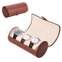 Pantalla del reloj Reloj de Pulsera Caja de Regalo de Lujo 3 tragaperras Collar Pulsera Joyas Caja De Almacenamiento de LA PU de Cuero bolsa de Viaje