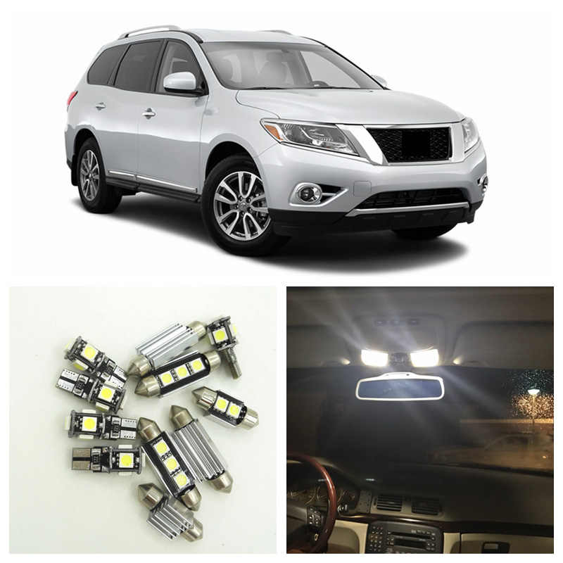 12pcs White LED Light Bulbs Interior Package Kit For Nissan Pathfinder 2013 2014 2015 Map Dome License Plate Lamp Nissan-B-16