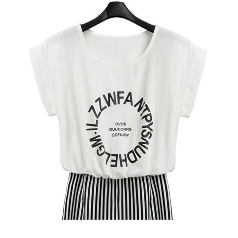 2 in 1 One-piece Words Print Striped Blouse Bodycon Long Dress Short Sleeves