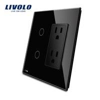 Livolo US Standard Vertical Luxury Black Crystal Glass 2Gang US Socket 15A VL C502 12 VL