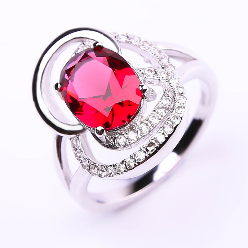2016 Brand New Pigeon Blood Red Ruby Ring Classic Wedding Set 925 Sterling Silver Fabulous Charm