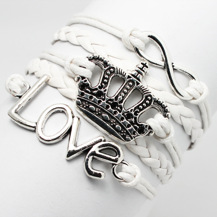 New Desgin Retro Imperial Crown Infinity Love Charm Fashion Custom Braided White Leather Rope Cheap Wristband