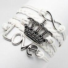 New Desgin Retro Imperial Crown Infinity Love Charm Fashion Custom Braided White Leather Rope Cheap Wristband Bracelet Jewelry