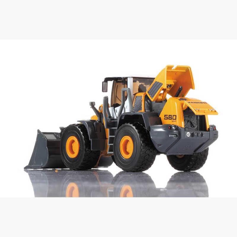 Alloy Diecast Sekop Loader 1:50 4 Wheel Loader Menarik Kembali/ABS Bulldozer Konstruksi Suara Model Truk untuk Anak-anak Hobi mainan