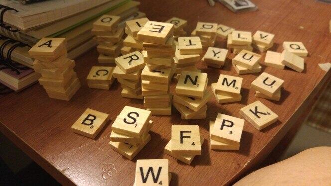 Pz set alfabeto di legno scrabble puzzle piastrelle nero