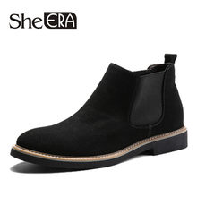 2019 New Leather Short Boots Men mid-calf Handmade Chelsea Ankle Boots Vintage Casual Shoes Soft Fashion Shoes Dress Business(China)