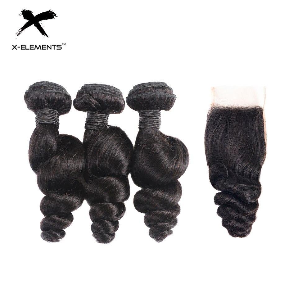X-Elements Hair Loose Wave Human Hair 3 Bundles With Closure Brazilian Hair Weave Bundles With Closure Natural Color Non-remy