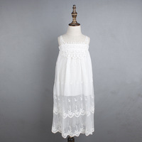 8 14eyears INS Hot Flower Girl Dress Child Max White Lace Beach Sling Flower Gauze Dress