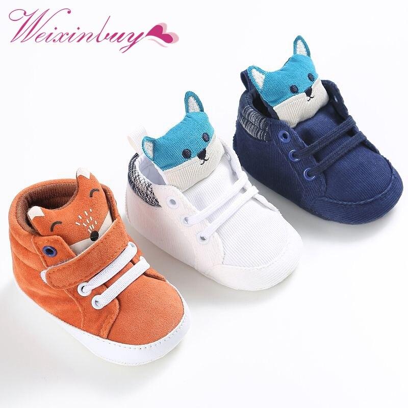 15da99196b02 1 Pair Autumn Baby Shoes Kid Boy Girl Fox Head Lace Cotton Cloth First  Walker Anti