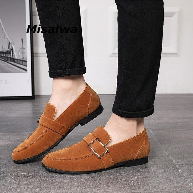 cbeeec4355e Misalwa de moda los hombres mocasines gamuza cuero cinturón hebilla zapatos  la boda Vestido marrón camello hecho a mano Negro Calzado