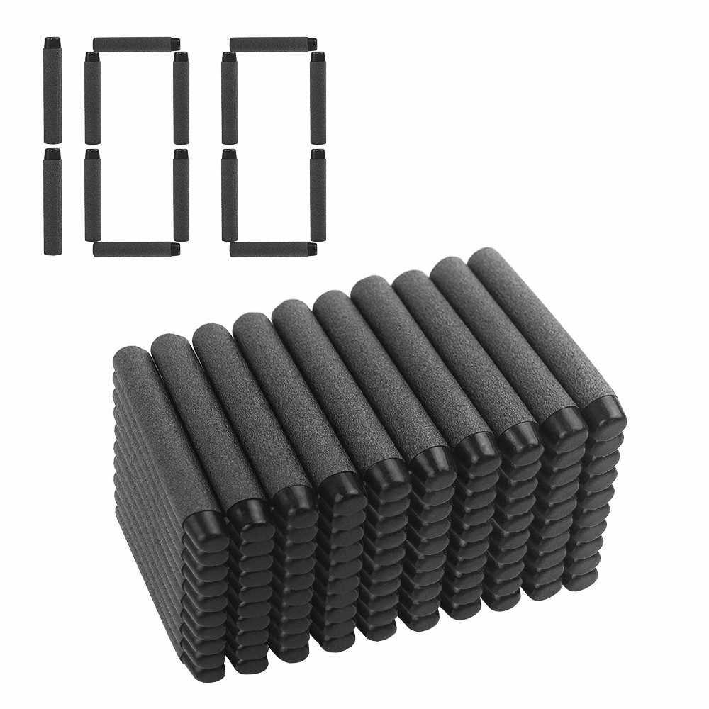 100pcs Soft Kogels Zachte Darts Voor Nerf Speelgoed Pistool Zachte Kogels Blaster Soft Hollow Gat Hoofd Schuim Kogel 7.2*1.3cm Zwart