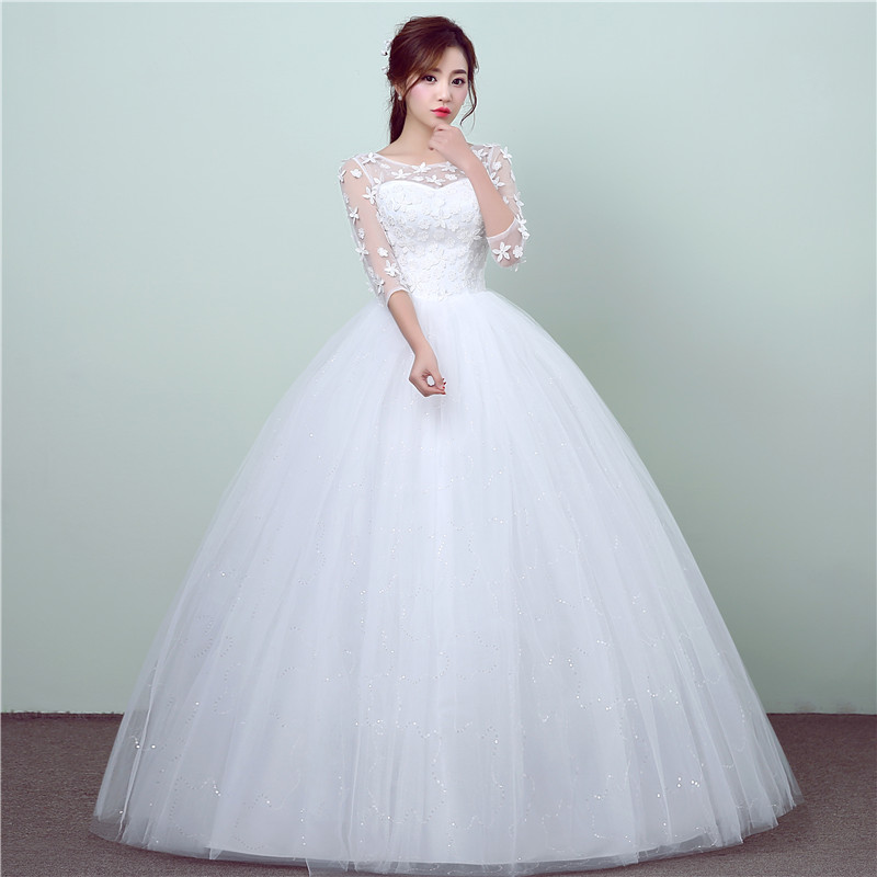 New Fashion Simple Lace Half Sleeve Wedding Dresses O-Neck Elegant Floral Print Plus Size Vestido De Noiva Bride Gown Cheap