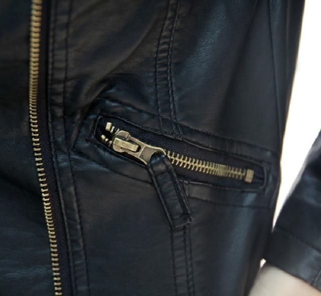 Women Black Slim Cool Lady Leather Jackets 4