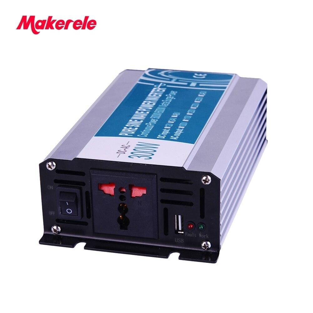 inverter 24v 220v 300w pure sine wave power 600w peak 50Hz Universal outlet 5V 500mA USB Output MKP300 242 general purpose