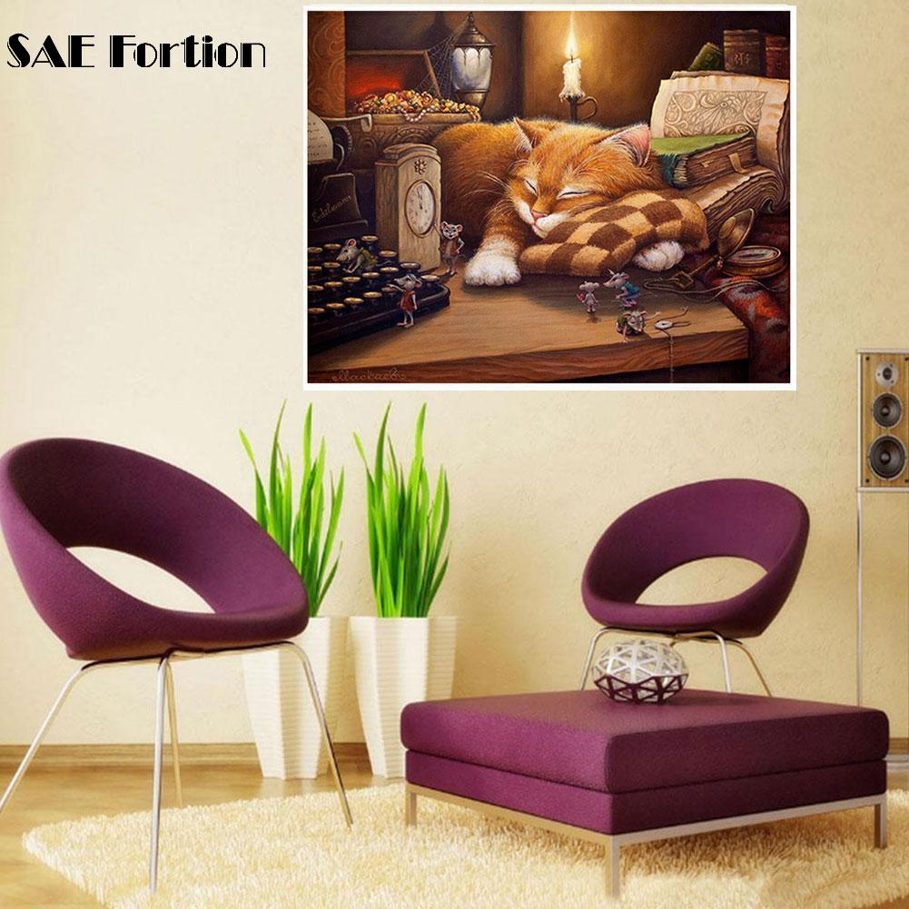 Cute Sleeping Cat DIY Painting By Numbers Wall Art Picture
