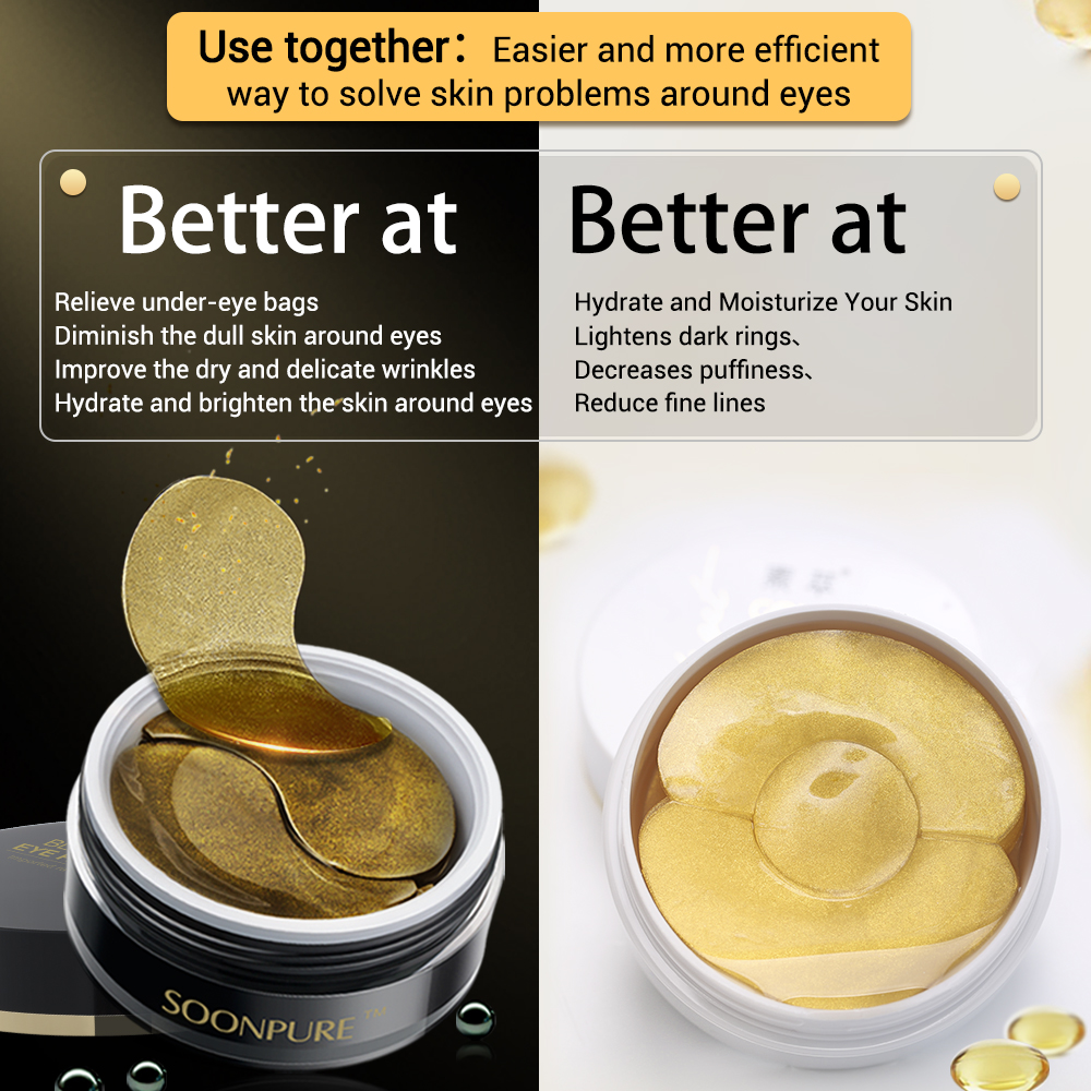 SOONPURE Black Diamond Black Gold Lady Eye Mask + Gold Eye gel Pads Patches Collagen Anti-Puffiness Dark Circle Anti-Aging