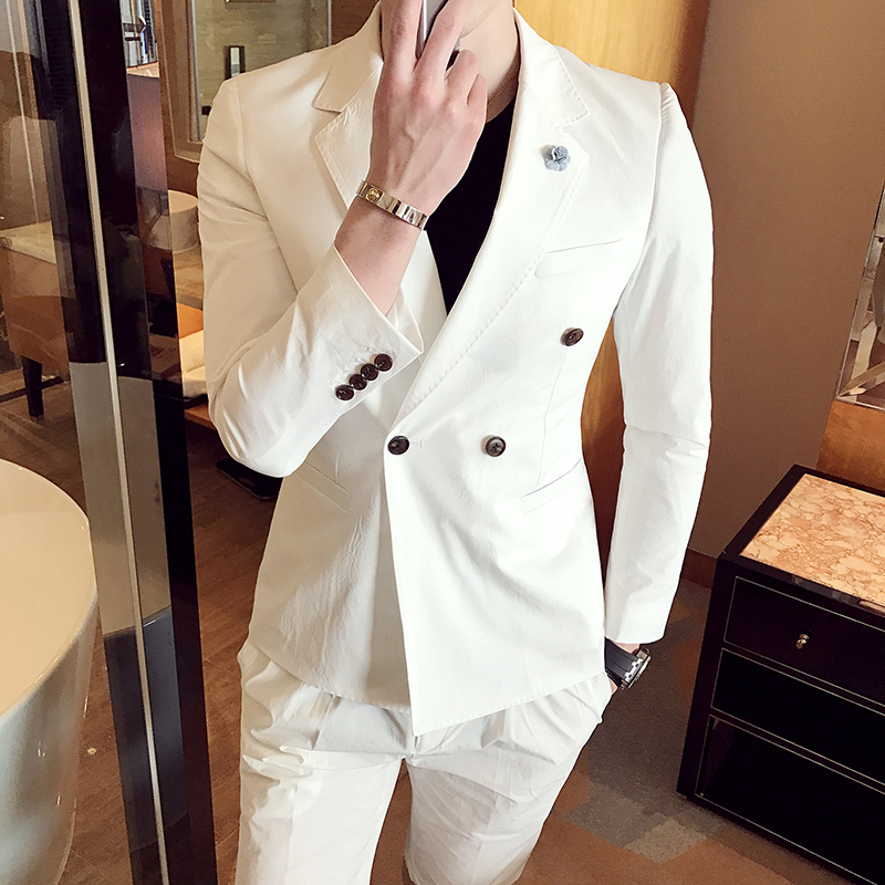 2018 Double Breasted Suits Mens White Suit Jackets Slim Fit Blue Tuxedo Jackets Perfume Masculino Suits Short Men Club Outfits