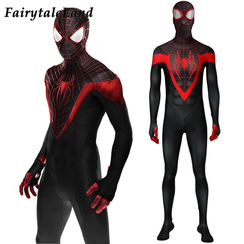 Ultimate Spider Man Miles Morales Cosplay Costume Carnival Halloween Costumes Superhero Jumpsuit black Spider Man Costume