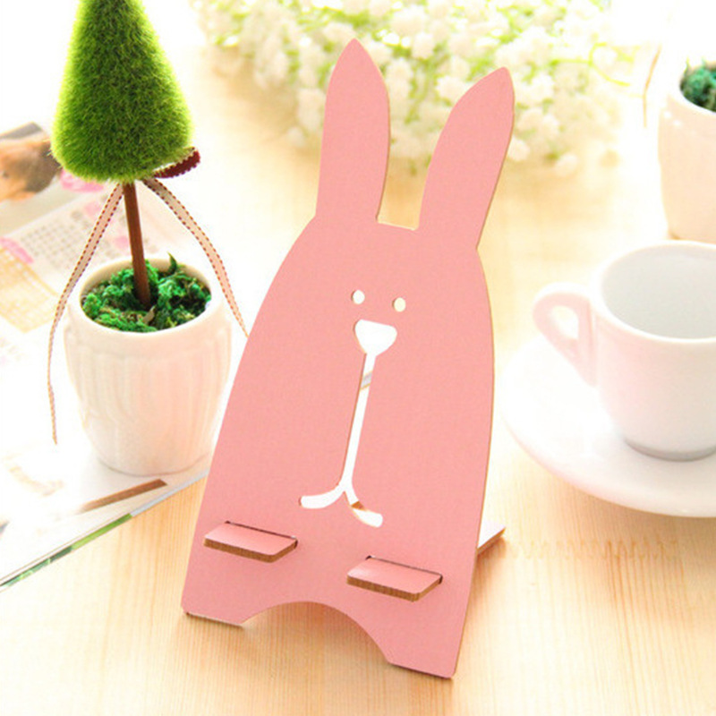 Wooden Universal Phone Holder Cute Rabbit Desk Stand Charging Bracket For LG X5 Class G Flex 2 Stylo G4c G4 Stylus G4s Beat