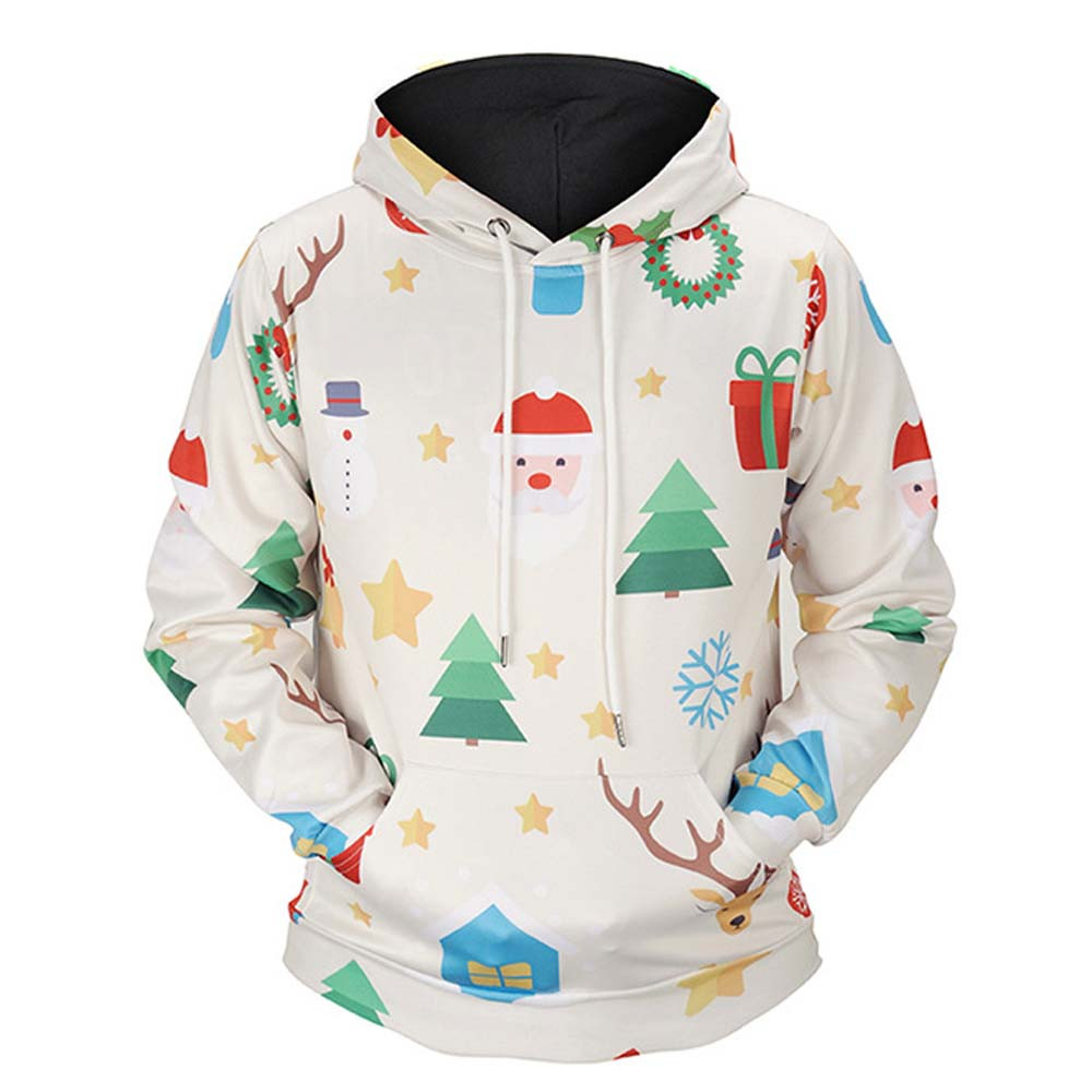 Feitong Bts Embroidered Funny Patterns Pocket Strappy Men Women Winter Christmas Printed Long Sleeve Hooded Sweatshirt Tops
