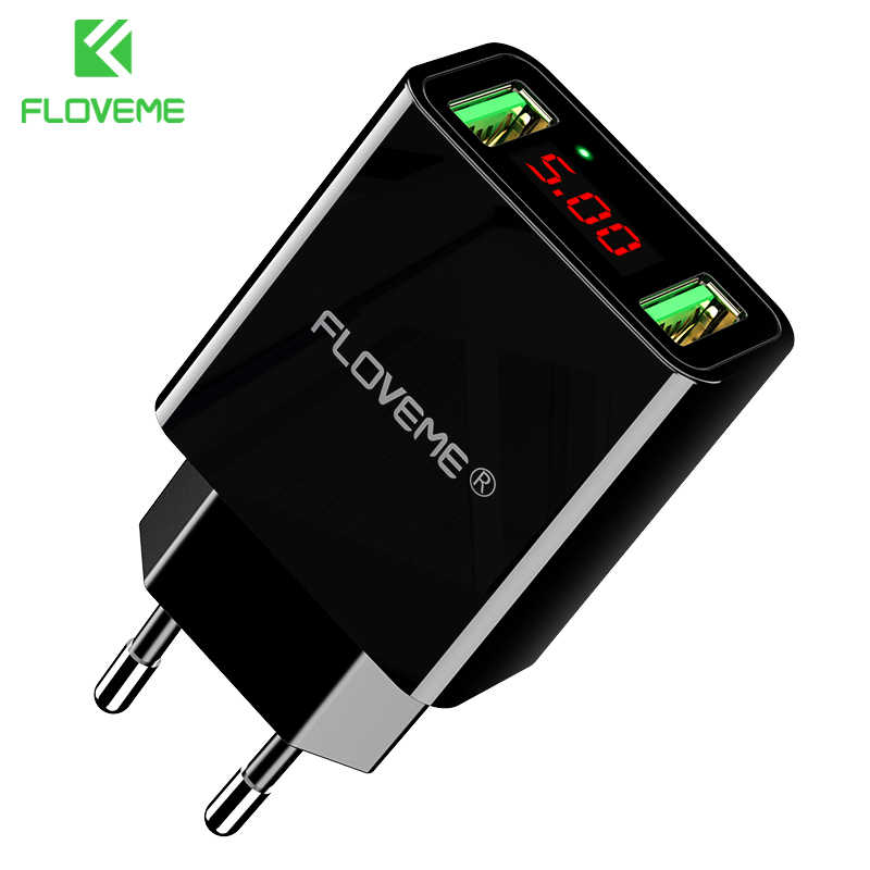 Floveme USB Charger 2 Port LED Display Smart Mobile Phone Charger untuk Iphone Samsung Xiaomi Tablet Dinding Perjalanan Adaptor Uni Eropa plug