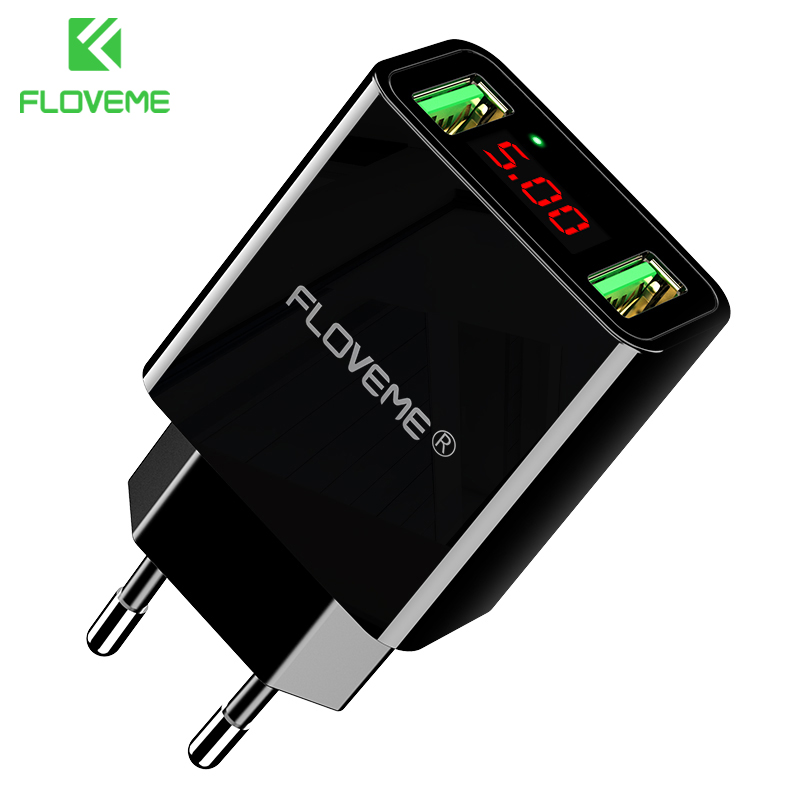 FLOVEME USB Charger 2 Ports LED Display Smart Mobile Phone Charger For iPhone Samsung Xiaomi Tablet Wall Travel Adapter EU Plug