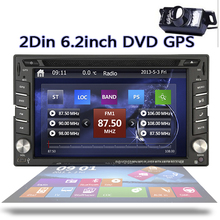 6.2inch Built-in GPS Navigation Car headunit Player double 2DIN In Dash Car DVD CD Player Bluetooth iPod  Radio+Free rear Camera