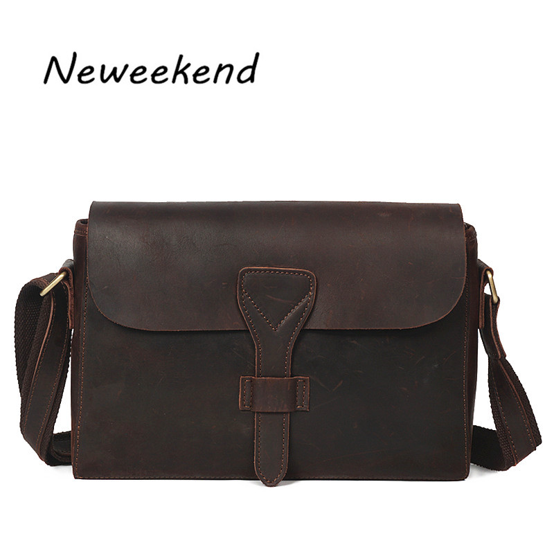 NEWEEKEND Brand Men's Genuine Crazy Horse Leather Business Bag Men Shoulder iPad Bags High Quality Male Handbags For Men YD-008