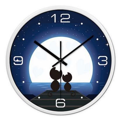 Creative chat mode enfants dessin animé horloge murale muet montre chambre salon mur monde