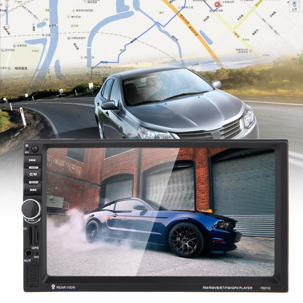 7 2 DIN Touch Screen Car MP4 MP5 Bluetooth Player GPS Navigation FM/AUX-IN/USB/SD In Dash Hands-free GPS Map Audio Video Player in dash car gps mp5 player with 7 hd 2 din touch screen bluetooth steering wheel control support tf usb aux fm radio 7021g