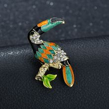 Terreau Kathy Toucan Bird Brooches Colorful Enamel Rhinestone Crystal For Women Trend Pelican Bird Brooch Pins Jewelry Accessory(China)
