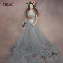 61ead76689edd 3pcs Set Maternity Photography Props Romantic Floral Mullet Dress Fairy  Trailing Pregnancy Portrait Fancy Photo Shooting